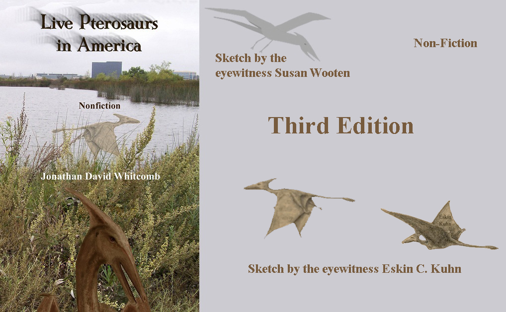 "Cover of the book ""Live Pterosaurs in America"" - with images of pterodactyls"