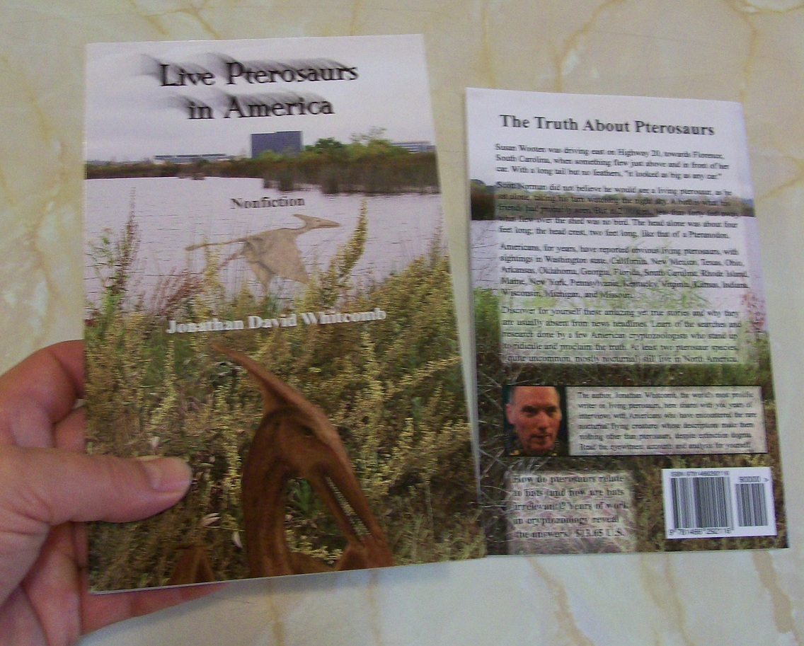 """front and back covers of """"Live Pterosaurs in America"""" nonfiction book"""