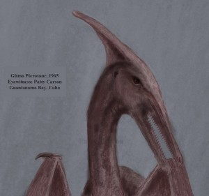 sketch, by eyewitness, of the Rhamphorhynchoid pterosaur of eastern Cuba
