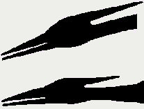 two silhouette sketches of the heads of two ropen pterosaurs