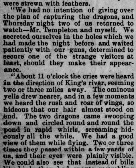 "Central California ""dragons"" reported in an old newspaper article"