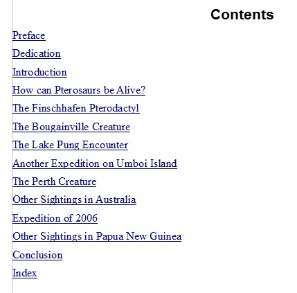 Table of Contents for a nonfiction cryptozoology book about sightings of pterosaurs in the southwest Pacific