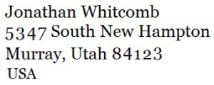 Street address of Whitcomb in the USA